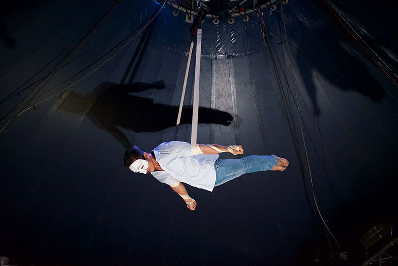 acrobatics during a show at Phare Circus